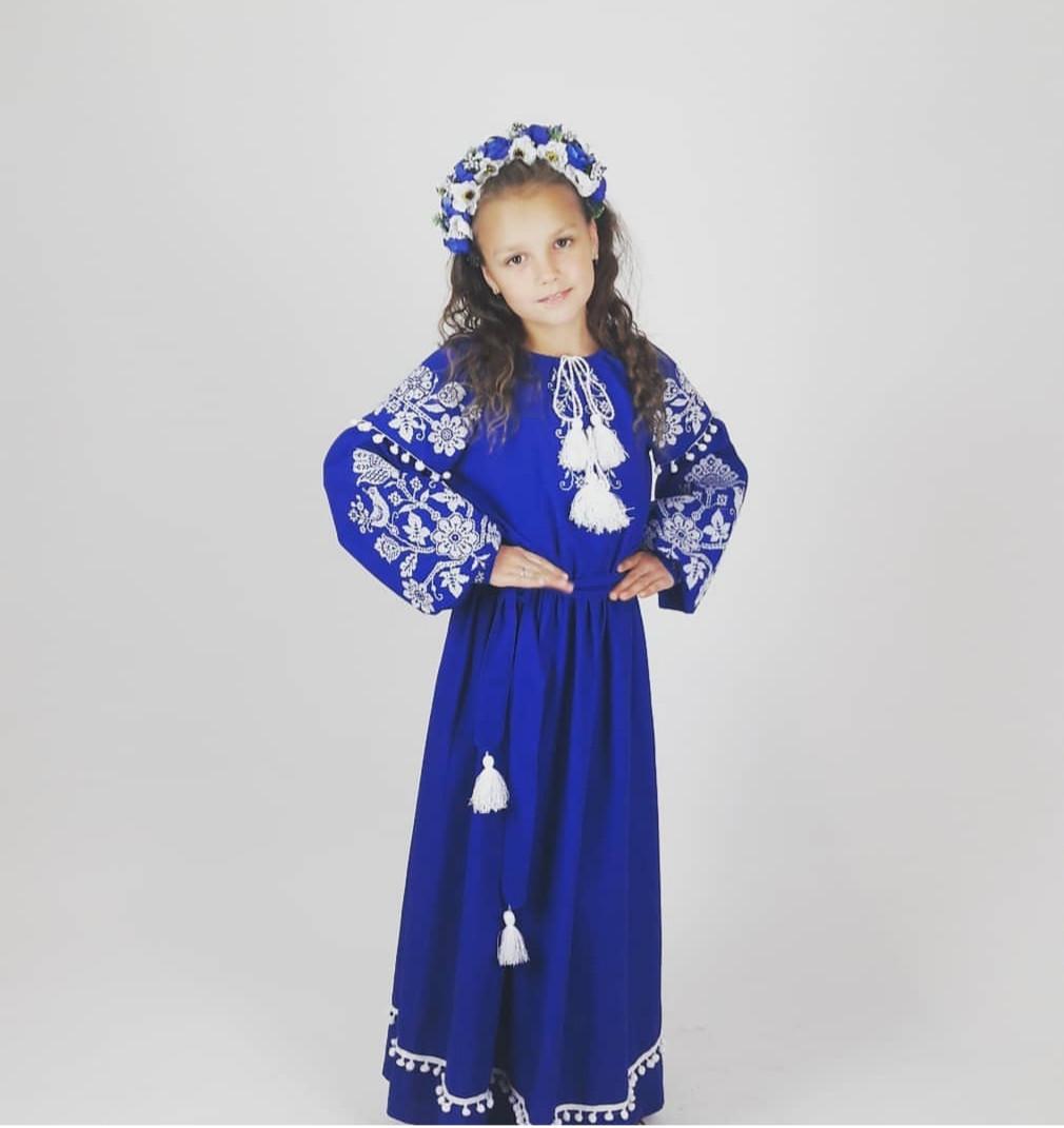 Платье Волинські візерунки для девочки длинное вышитое 134 см  синее