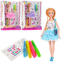 Кукла, платье-раскраска, наклейки, маркеры, BLD169-1