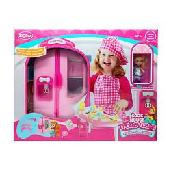 """Мебель для кукол """"Кухня"""", в чемодане (ручка+колеса), посуда, продукты, кукла, QL048"""