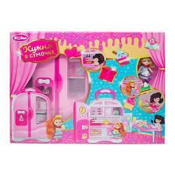 """Мебель для кукол """"Кухня"""", в чемодане (ручка+колеса), посуда, продукты, кукла, QL048-2"""