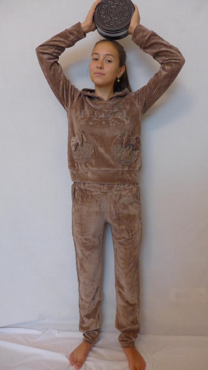 Велюровый костюм в сочетании с гипюром-Бантик(молочный шоколад)