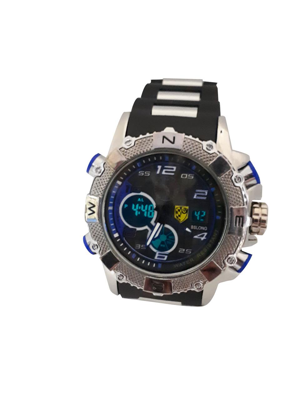 Часы Bslong Синий электронные + кварцевые в железной подарочной коробке.