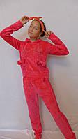 Велюровый костюм в сочетании с гипюром-Бантик(малинка), фото 1