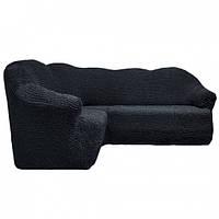 Чехол-покрывало на угловой диван без оборки  MILANO графит 229. Чехол полностью обтянет ваш диван!!!
