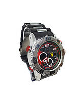 Часы Bslong Красный электронные + кварцевые в железной подарочной коробке., фото 2