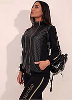 Женский спортивный костюм больших размеров. Черный .( 50, 52)
