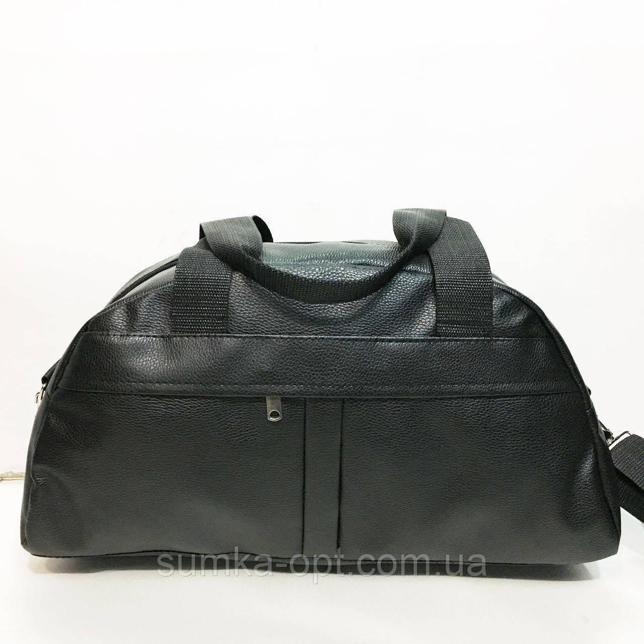 Спортивные сумки из искусственной кожи (ЧЕРНЫЙ БЕЗ НАКАТКИ)20х24х44см