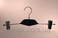 Вешалка с деревянной вставкой чёрная с прищепками, фото 1