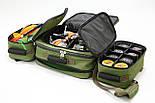 Универсальная рыбацкая сумка для поводочницы, 4 катушек, 8 банок бойлов, и др. рыболовных аксессуаров, фото 5