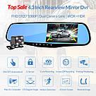 Видеорегистратор авто-зеркало L-9010 2 камеры 1080P Full HD, фото 2