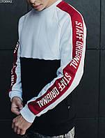 Молодежный модный свитшот с начесом Staff original white fleece OTD0042
