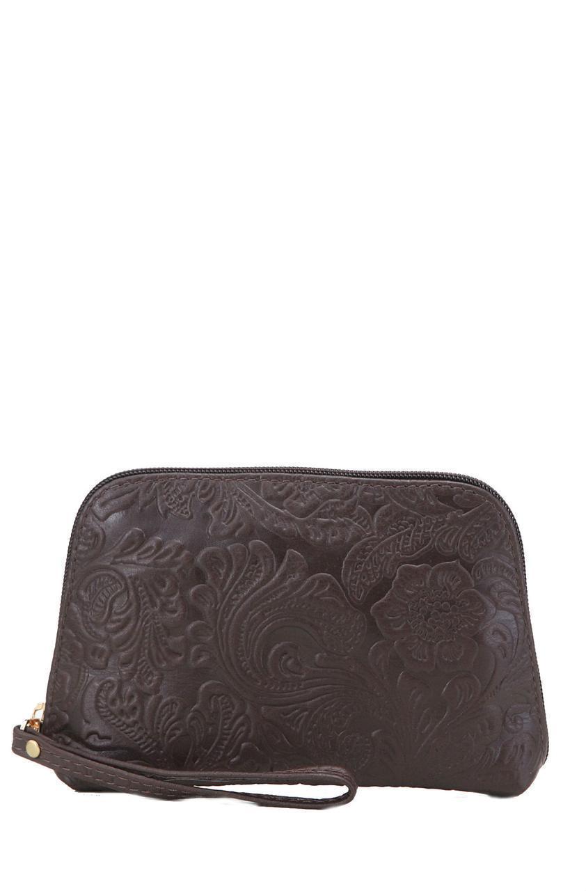 Женская кожаная косметичка 10305 Made in Italy цвет темно-коричневый с принтом