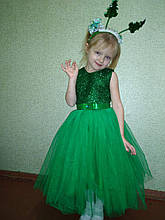 Зеленое детское пышное платье Ёлочка с блестками