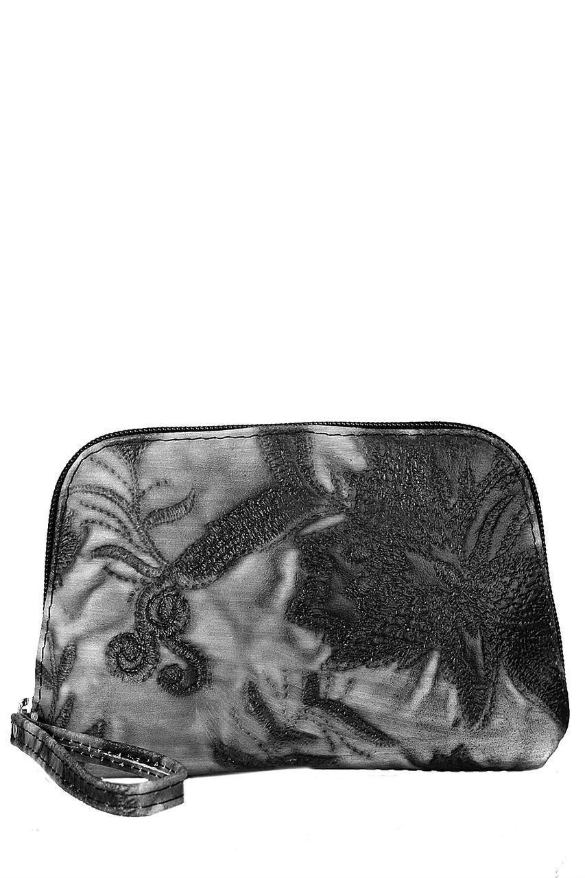 Женская кожаная косметичка 10252 Made in Italy цвет цветочный принт