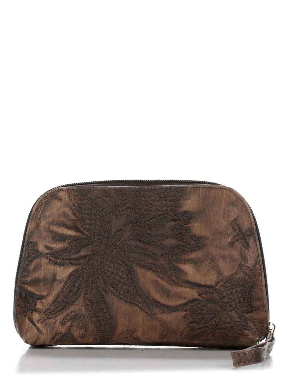 Женская кожаная косметичка 10168 Made in Italy цвет цветочный принт
