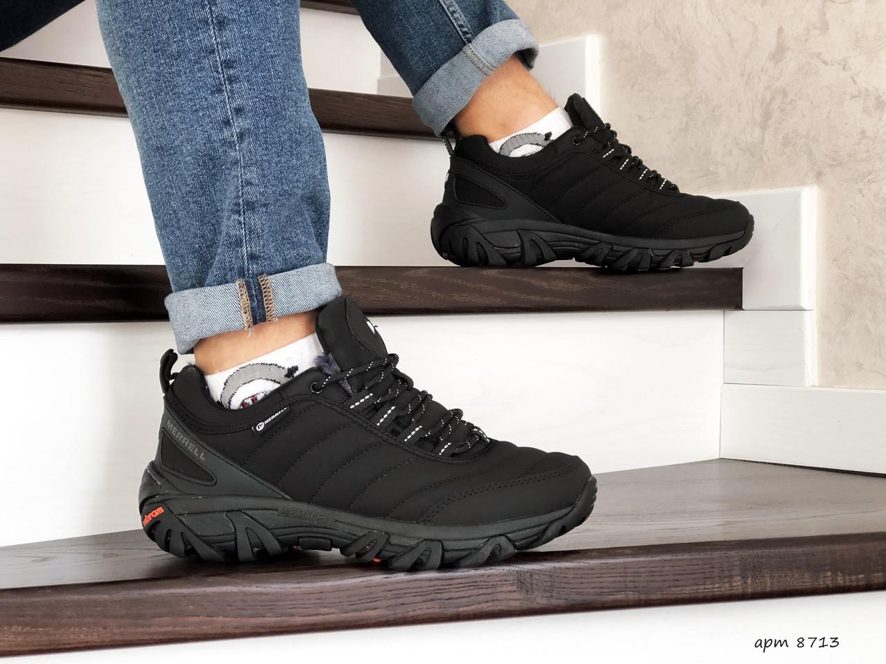 Зимние мужские кроссовки Merrell,нубук,черные
