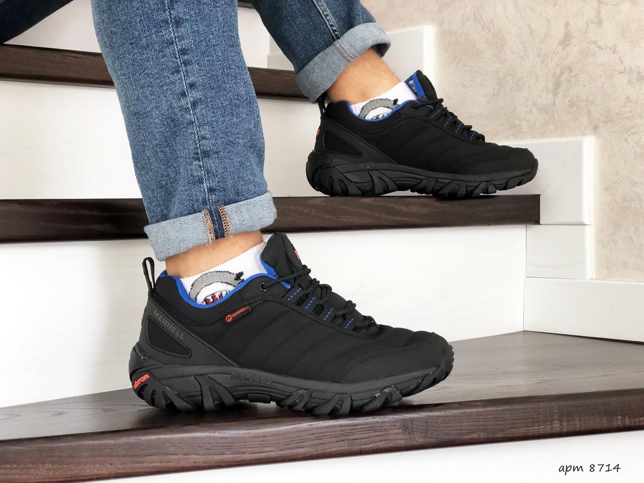 Зимние мужские кроссовки Merrell,нубук,черные с синим