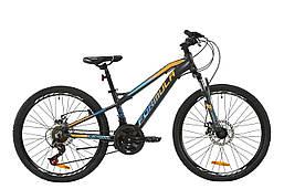 """Велосипед AL 24"""" Formula BLACKWOOD 2.0 AM DD 2020 (серый с голубым и оранжевым (м))"""