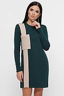 Женское повседневное темно-зеленое теплое платье, фото 1