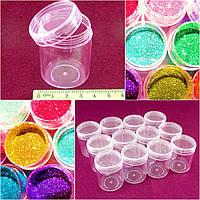 (3,8х4,8см) Контейнер (органайзер) баночка d=3,8см для бисера и мелочей Цена за 1 баночку Цвет - прозрачный, фото 1
