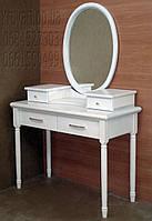Трюмо деревянное с овальным зеркалом и точеными ножками tr3.1