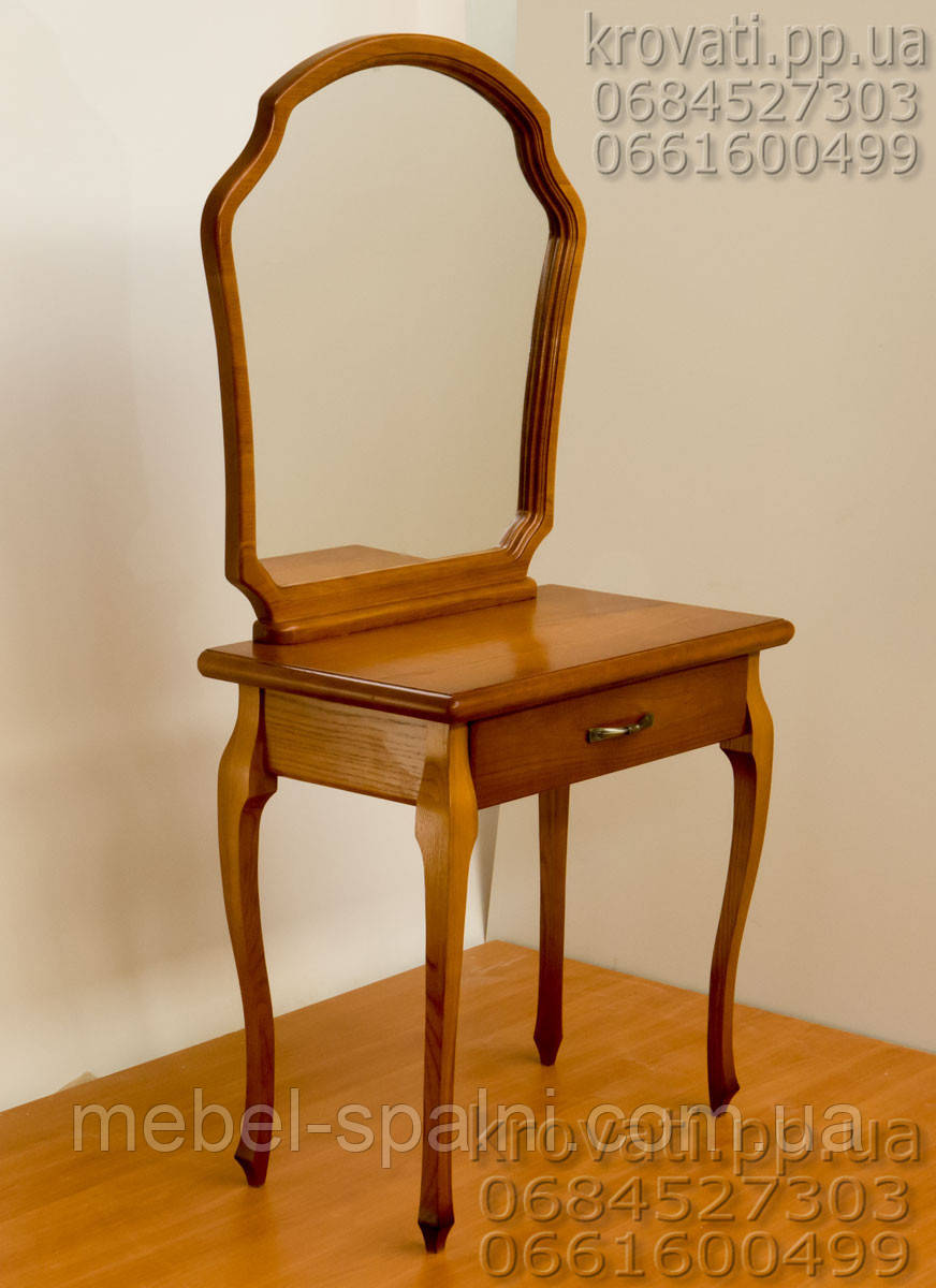 Трюмо деревянное с фигурным зеркалом и гнутыми ножками tr4.1