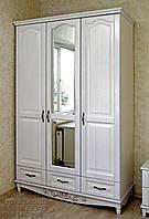 """Шкаф деревянный белый с зеркалом для """"Трио-1"""" sh3.2"""