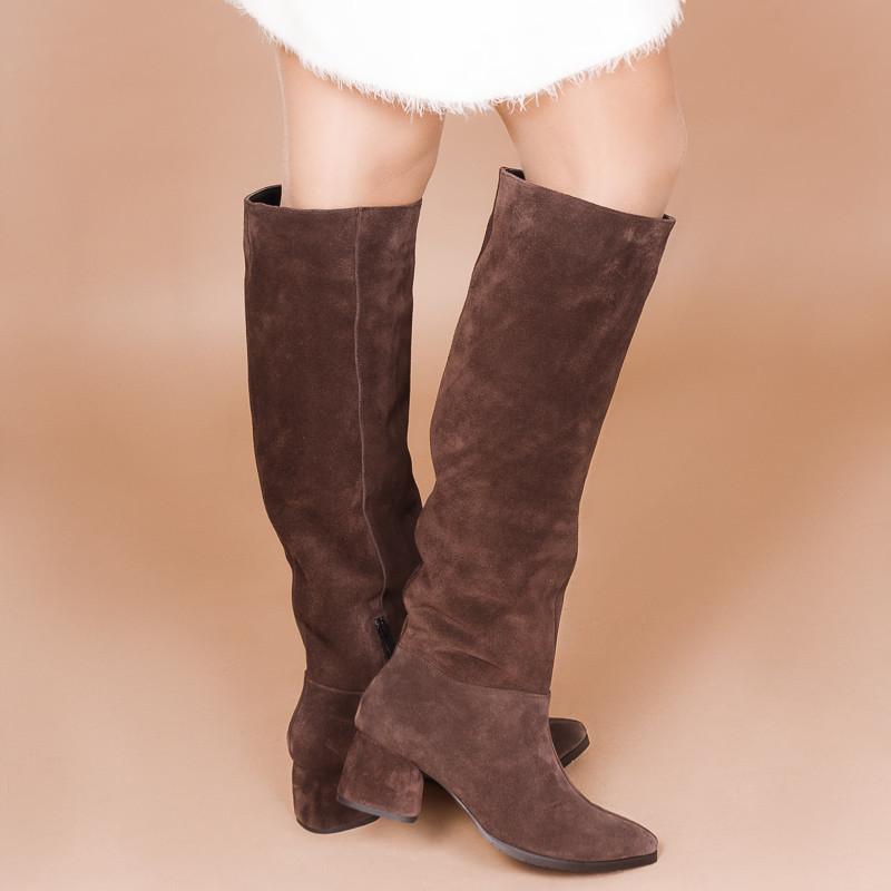 Замшевые коричневые женские сапоги. Натуральная замша. Зима, деми. Пошив на любую голень.