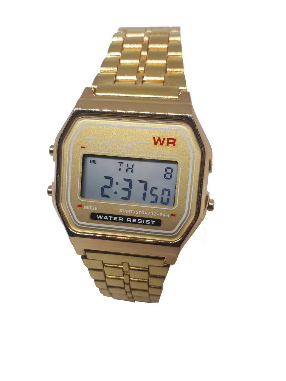 Часы электронные с будильником  на  золотистом браслете Abeer 01-95G