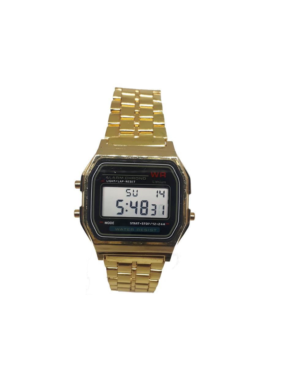 Часы электронные с будильником  на  золотистом браслете  Abeer 01-95GB Черный