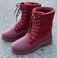 Ботинки женские зимние 8 пар в ящике бордового цвета 36-41, фото 3