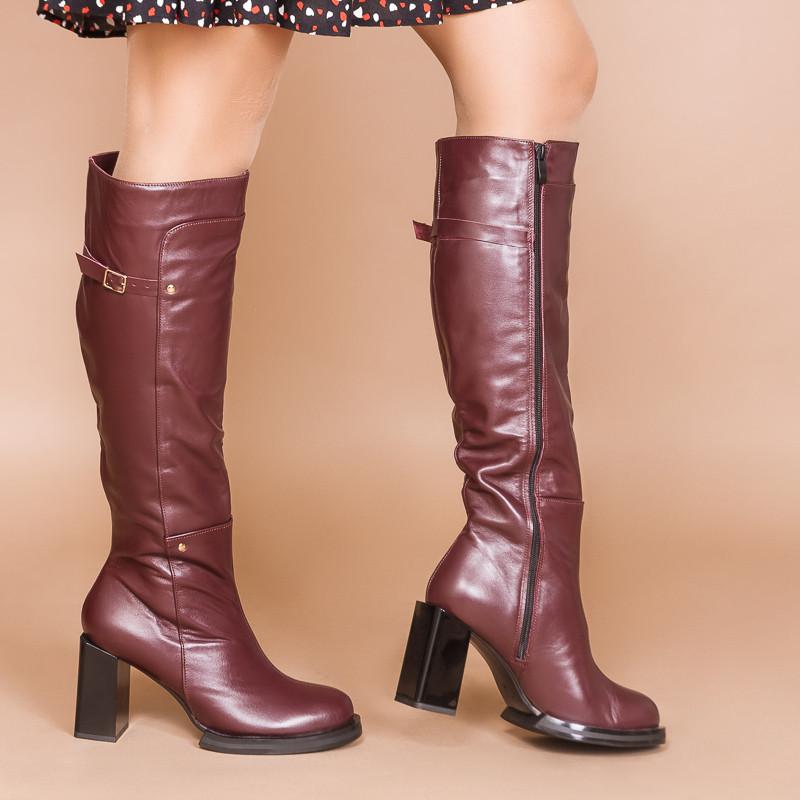 Женские бордовые высокие сапоги кожаные на каблуке. Индивидуальный пошив. Цвет на выбор
