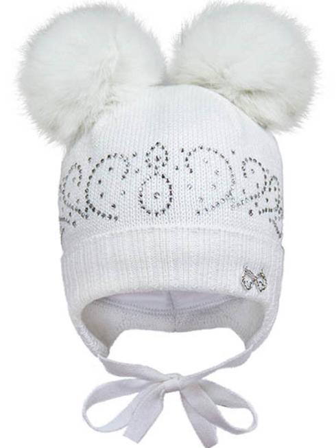 Зимняя шапка для девочки, возраст от 6 до 9 месяцев