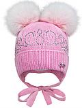Зимняя шапка для девочки, возраст от 6 до 9 месяцев, фото 2