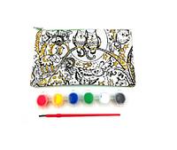 Набор пенал-косметичка раскраска  (глитерные блестки, акриловые краски и кисточка).
