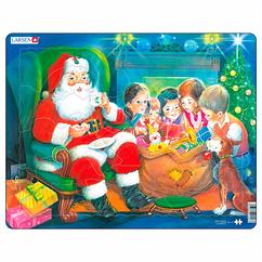 Пазл рамка-вкладыш Дед Мороз с детьми Lasren серия Макси (JUL14)