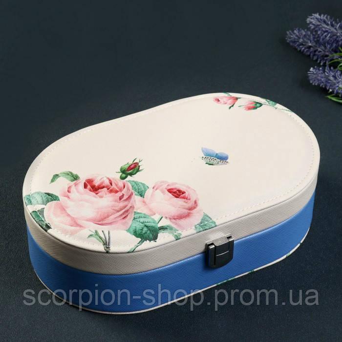 """Шкатулка для украшений """"Розы"""" (22.5*14*6,5 см) кожзам"""