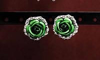 Серьги цветок зеленый код 758зел
