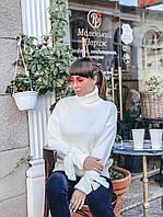 Теплый вязаный свитер молочного цвета, фото 1