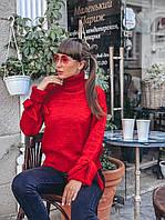 Красный женский свитер с завязками на рукавах, фото 1