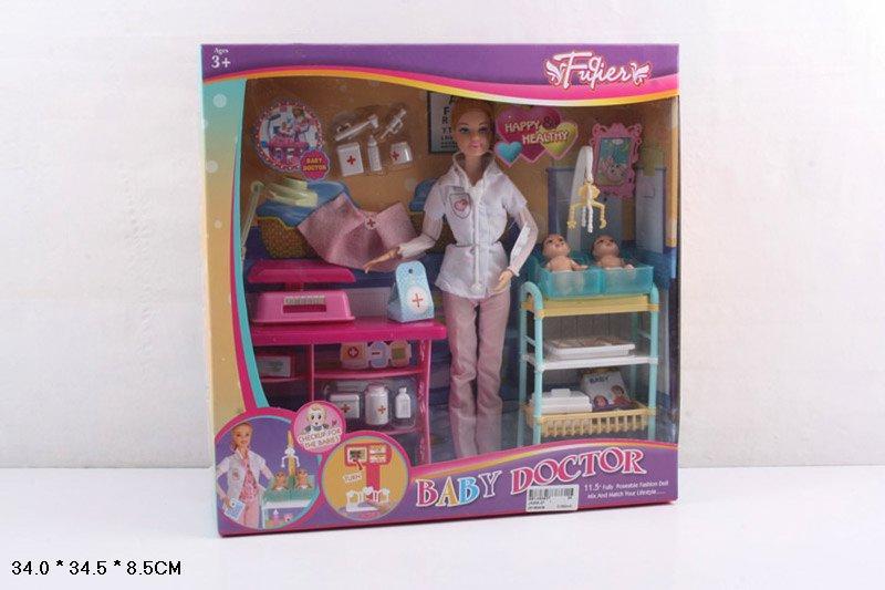 Кукла 30см, набор доктора, шарнирная, пупс 2шт, мебель, JX200-36