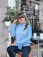 Вязаный голубой женский свитер плотной вязки, фото 1