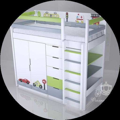 Кровати-чердаки с мебелью/игровой