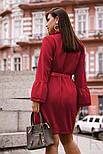 Платье-рубашка с поясом большого размера красное, фото 4