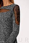 Платье миди из твида с вставками гипюра, фото 2