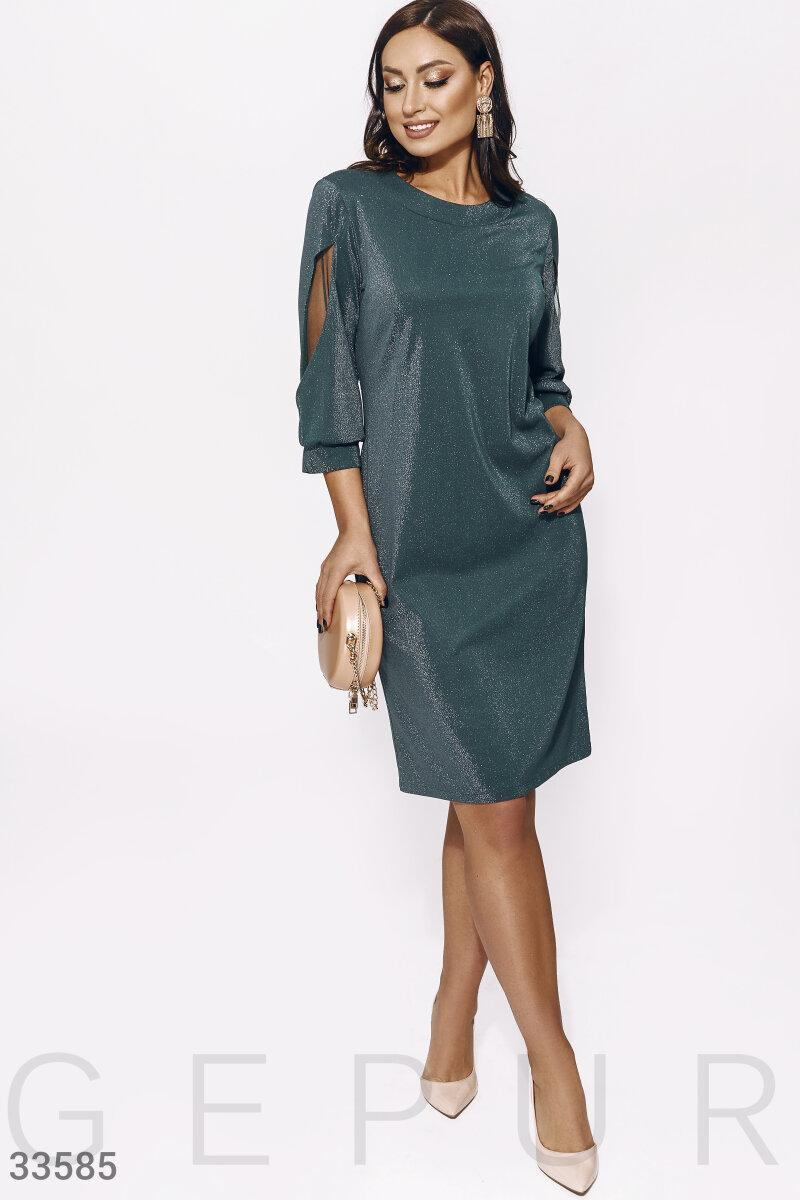 Трикотажное платье с люрексом большого размера изумрудное