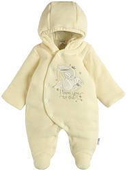 Утепленный велюровый комбинезон  для девочки, молочный, Гарден беби, размеры 56-68