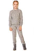 Детский теплый вязаный костюм на девочку в расцветках, р.128,140,152,