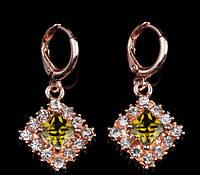 Серьги с кристаллом, покрытые золотом код 762