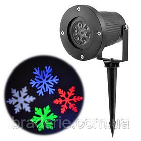 Диско-лазер проектор уличный 326-1 RGBW изображение снежинки